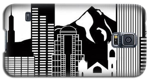 Portland Oregon Skyline Black And White Illustration Galaxy S5 Case by JPLDesigns
