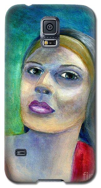 Portrait Art Woman In Red Galaxy S5 Case