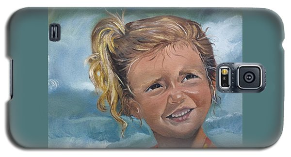 Galaxy S5 Case featuring the painting Portrait - Emma - Beach by Jan Dappen