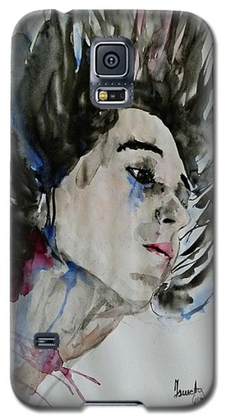 Galaxy S5 Case featuring the painting Portrait- Girl by Ismeta Gruenwald
