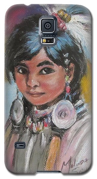 Galaxy S5 Case featuring the painting Portrait Of A Young Indian Girl by Melinda Saminski