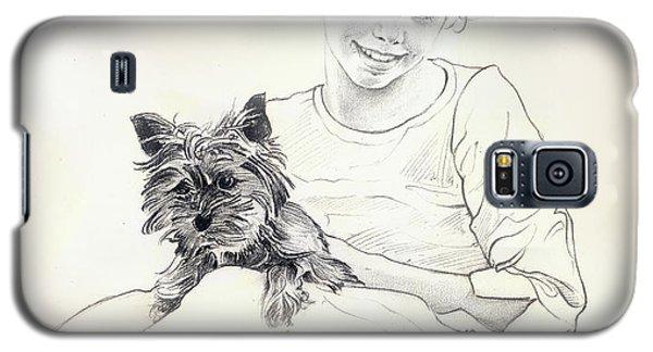 Galaxy S5 Case featuring the drawing Portrait Of Sylwia by Anna Ewa Miarczynska