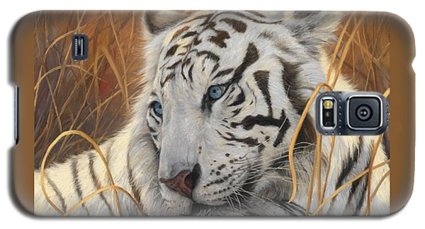 Portrait White Tiger 1 Galaxy S5 Case by Lucie Bilodeau