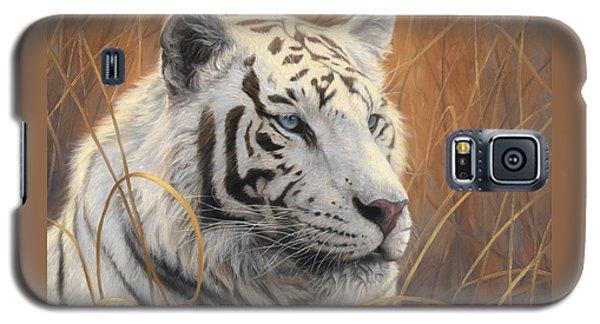 Portrait White Tiger 2 Galaxy S5 Case by Lucie Bilodeau