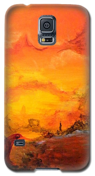 Galaxy S5 Case featuring the painting Post Nuclear Watering Hole by Christophe Ennis