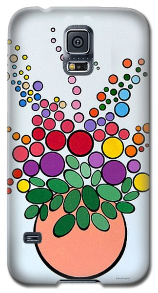 Galaxy S5 Case featuring the painting Potted Blooms - Orange by Thomas Gronowski