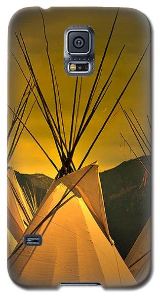 Pow Wow Camp At Sunrise Galaxy S5 Case by Kae Cheatham