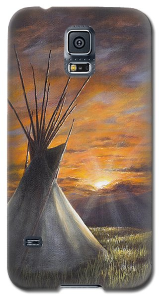 Galaxy S5 Case featuring the painting Prairie Sunset by Kim Lockman