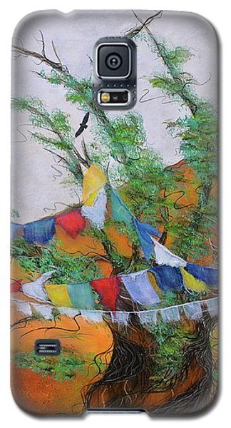 Galaxy S5 Case featuring the painting Prayer Flags by Deborha Kerr