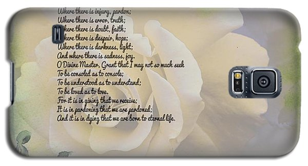 Prayer Of St. Francis And Yellow Rose Galaxy S5 Case