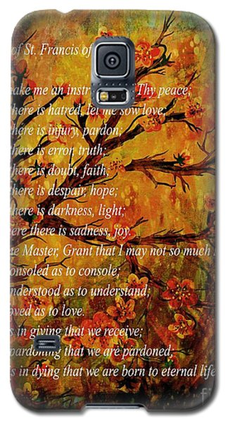 Prayer Of St. Francis Of Assisi  And Cherry Blossoms Galaxy S5 Case