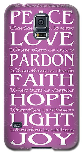 Prayer Of St Francis - Victorian Radiant Orchid Galaxy S5 Case by Ginny Gaura
