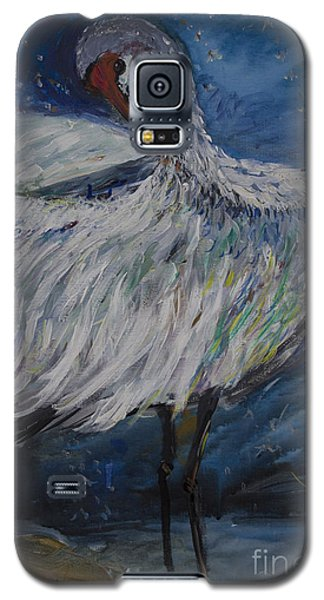 Galaxy S5 Case featuring the painting Preening Crane by Avonelle Kelsey