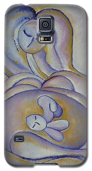 Galaxy S5 Case featuring the painting Pregnancy Oil Painting In The Belly Original By Gioia Albano by Gioia Albano