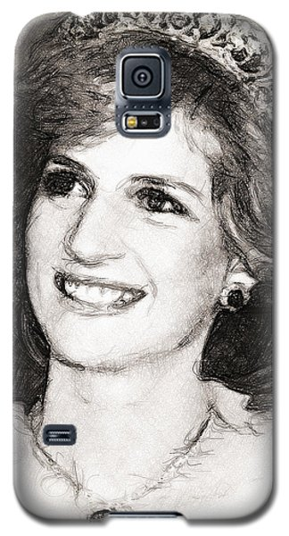 Galaxy S5 Case featuring the drawing Princess Diana by Wayne Pascall