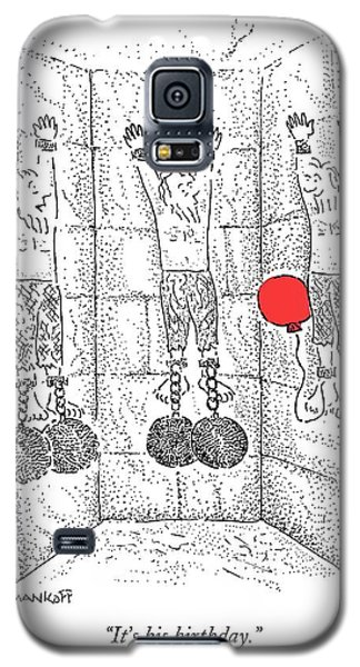 Dungeon Galaxy S5 Case - Prisoner In Dungeon Has Orange Balloons Attached by Robert Mankoff