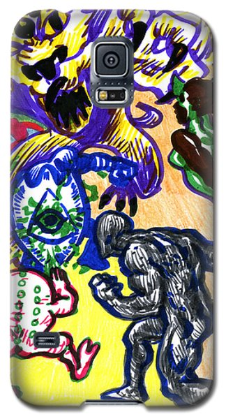 Galaxy S5 Case featuring the drawing Psychedelic Super Battle by John Ashton Golden
