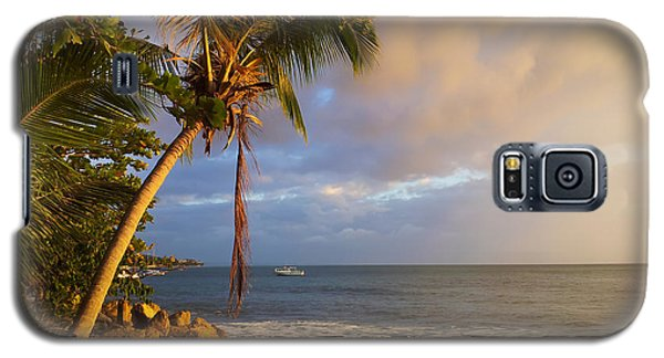 Puerto Rico Palm Lined Beach With Boat At Sunset Galaxy S5 Case