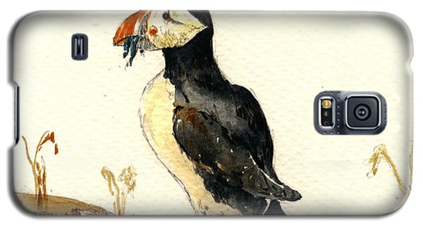 Puffin With Fishes Galaxy S5 Case