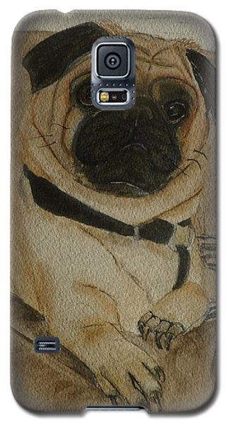 Galaxy S5 Case featuring the painting Pug Dog All Ready To Cuddle by Kelly Mills