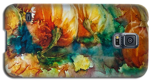 Galaxy S5 Case featuring the painting Pumpkin Patch by Jani Freimann