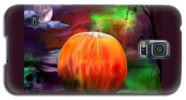 Pumpkin Skull Spider And Moon Halloween Art Galaxy S5 Case by Annie Zeno
