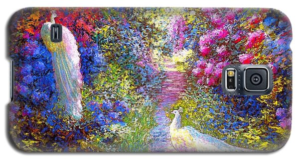 Impressionism Galaxy S5 Case -  White Peacocks, Pure Bliss by Jane Small