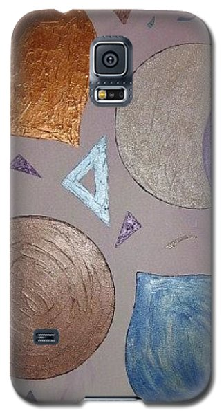 Galaxy S5 Case featuring the painting Purple And Metallic Shapes by Barbara Yearty