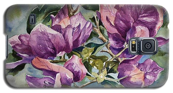 Galaxy S5 Case featuring the painting Purple Beauties - Bougainvillea by Roxanne Tobaison