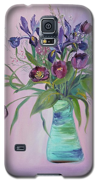Galaxy S5 Case featuring the painting Purple Belle Bouquet  Tulips And Irises by Asha Carolyn Young