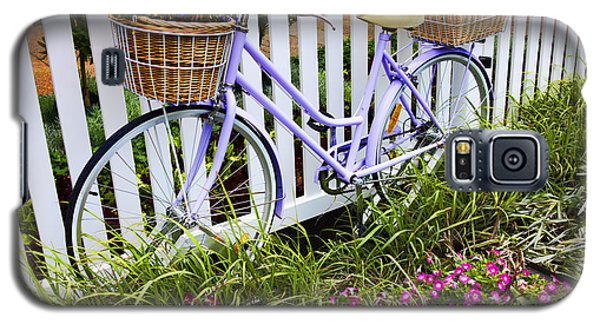 Bicycle Galaxy S5 Case - Purple Bicycle And Flowers by David Smith