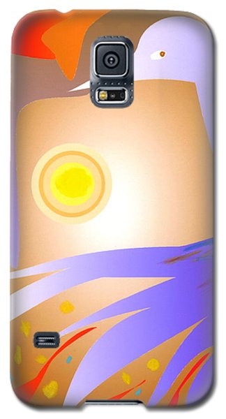 Galaxy S5 Case featuring the digital art Purple Bird by Mary Armstrong