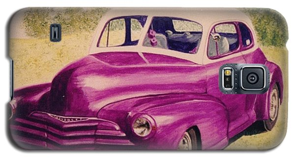 Galaxy S5 Case featuring the painting Purple Chevrolet by Stacy C Bottoms