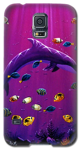 Galaxy S5 Case featuring the painting Purple Dolpins by Lance Headlee