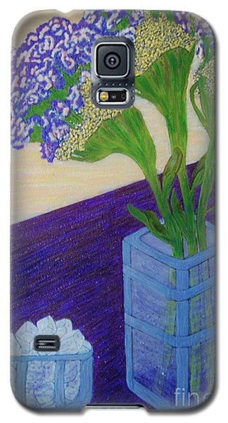 Galaxy S5 Case featuring the painting Purple Flowers And Ice by Jasna Gopic