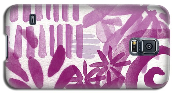 Purple Garden - Contemporary Abstract Watercolor Painting Galaxy S5 Case by Linda Woods