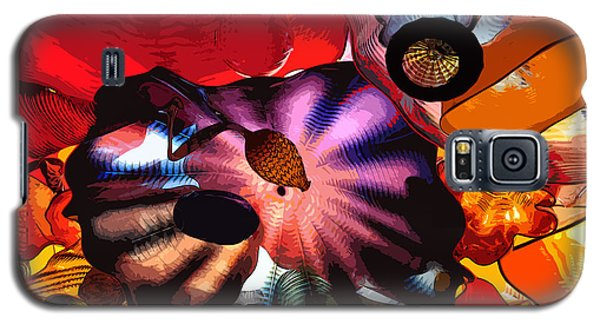 Galaxy S5 Case featuring the digital art Purple Glass In Sea Of Red by Kirt Tisdale