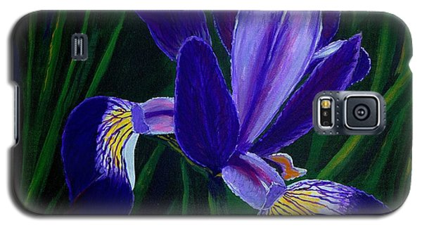 Galaxy S5 Case featuring the painting Purple Iris by Barbara Griffin