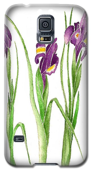 Galaxy S5 Case featuring the painting Purple Iris  by Nan Wright