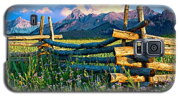 Purple Mountains And Flowers Galaxy S5 Case