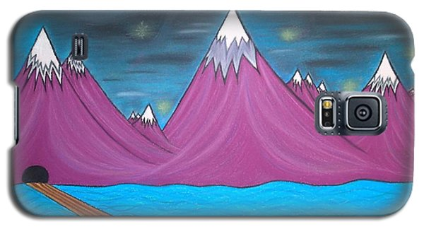 Galaxy S5 Case featuring the pastel Purple Mountains by Robert Nickologianis