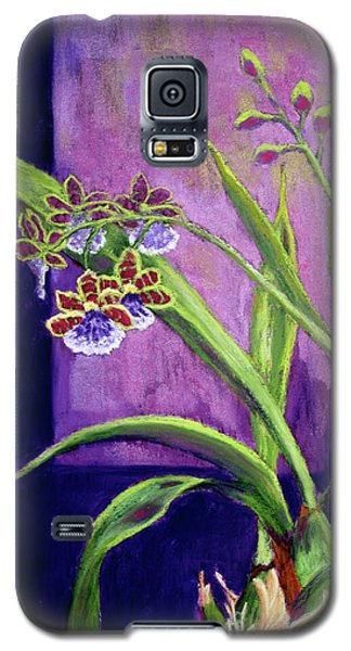 Galaxy S5 Case featuring the painting Purple Orchids by Nancy Jolley