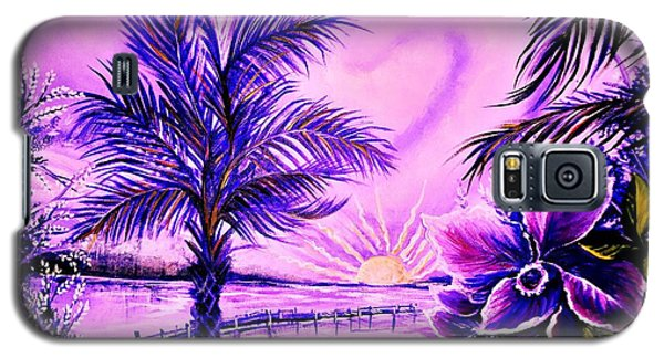 Galaxy S5 Case featuring the painting Purple Palm by Yolanda Rodriguez