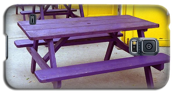 Purple Picnic Tables Yellow Doors Galaxy S5 Case