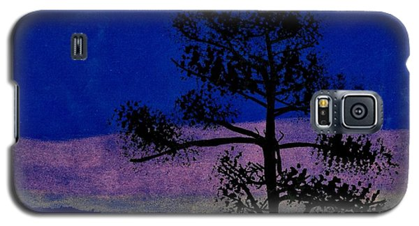 Galaxy S5 Case featuring the drawing Purple Sunset Bay by D Hackett