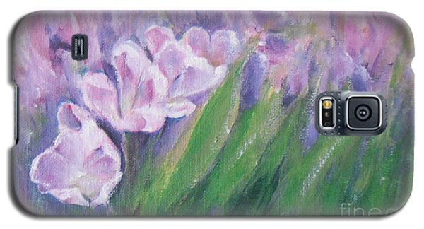 Galaxy S5 Case featuring the painting Purple Tulips  by Jane  See