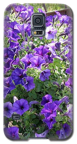 Purple Wave Petunias In Rusty Horse Drawn Spreader Galaxy S5 Case