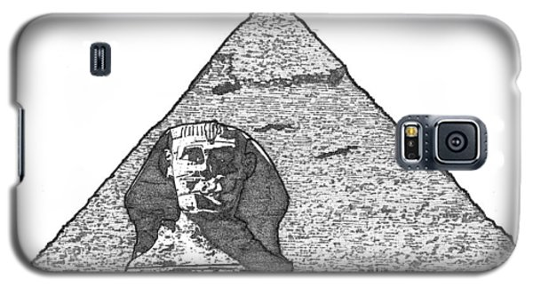 Galaxy S5 Case featuring the drawing Pyramid And Sphinx by Calvin Durham