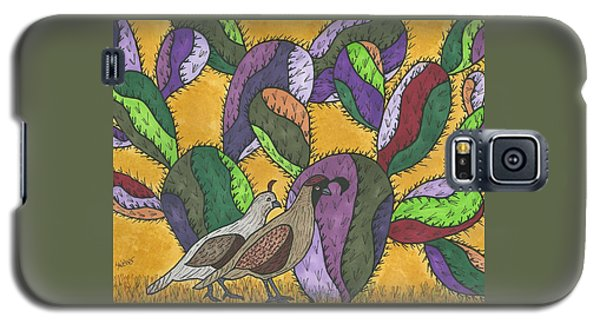 Quail And Prickly Pear Cactus Galaxy S5 Case by Susie Weber