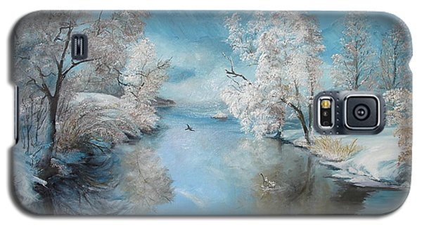 Galaxy S5 Case featuring the painting Quiet Ice  by Sorin Apostolescu